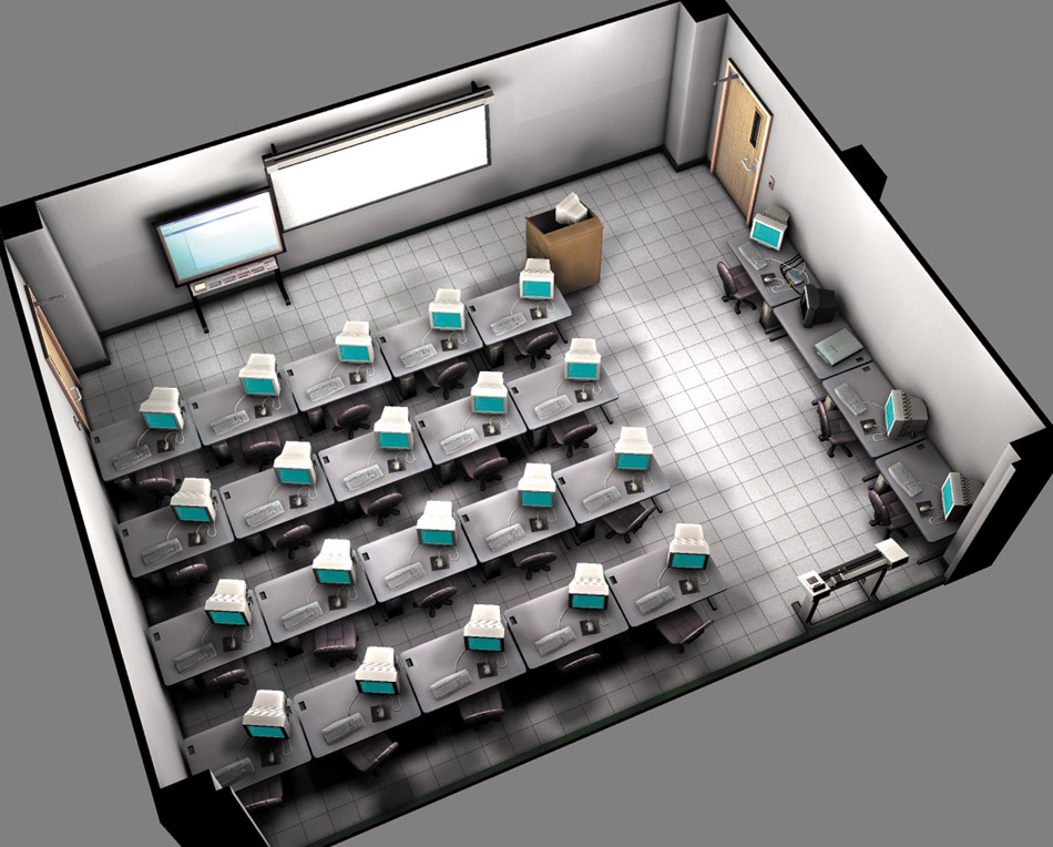Multimedia Classroom Design ~ Multimedia room computer graphics illustration